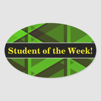 Student Praise + Abstract Green Triangles Pattern Oval Sticker