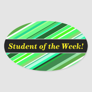 Student Praise + Various Shades of Green Stripes Oval Sticker