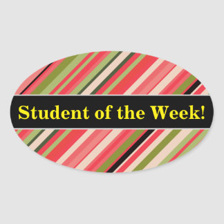 Student Praise + Watermelon-Inspired Stripes Oval Sticker