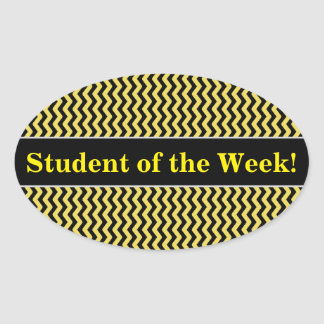 Student Praise + Yellow & Black Wavy Line Pattern Oval Sticker