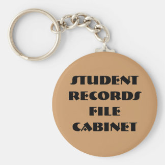 Student Records File Cabinet Basic Round Button Keychain