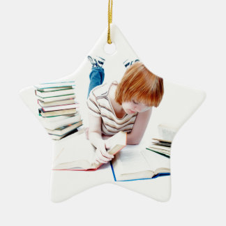 Student Studying To Get To Graduation Ceramic Ornament
