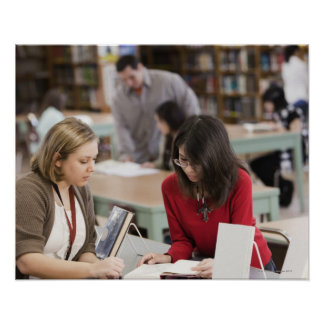 Student talking to librarian in school library poster