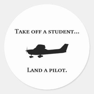 Student to Pilot Classic Round Sticker