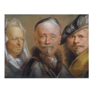Studies of Five Heads after Rembrandt (pastel on c Postcard