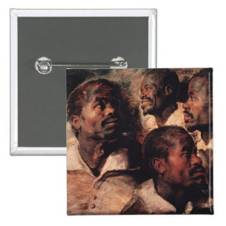 Studies of the Head of a Negro 2 Inch Square Button