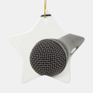 Studio Microphone Ceramic Star Ornament
