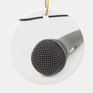 Studio Microphone Round Ceramic Ornament