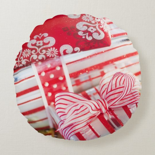Studio Shot christmas gifts 2 Round Pillow