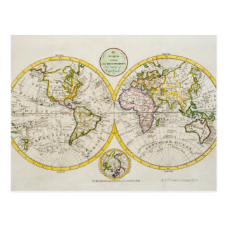 Studio shot of antique world map 2 postcard