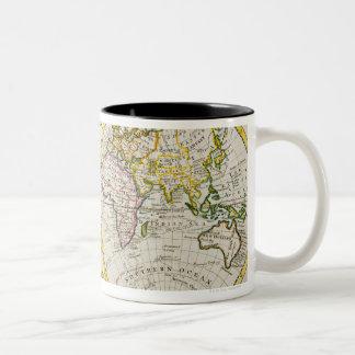 Studio shot of antique world map Two-Tone coffee mug