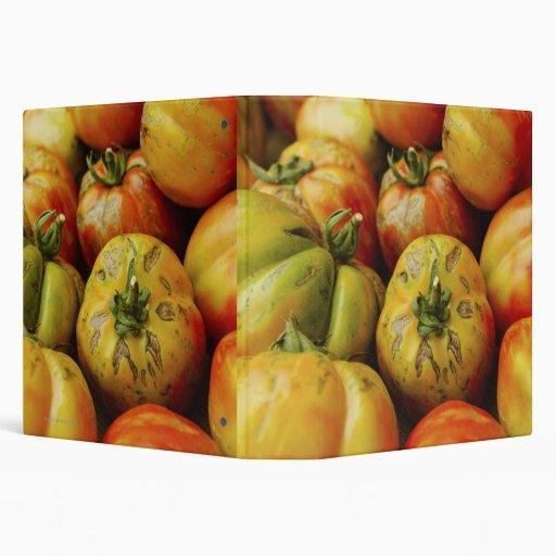 Studio shot of heirloom tomatoes 3 ring binder