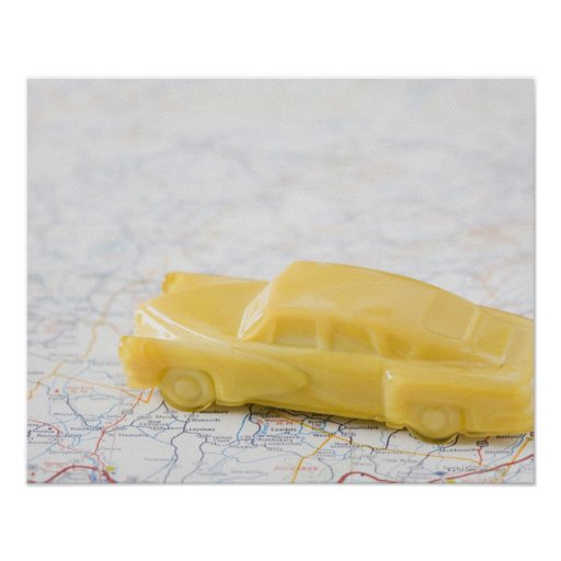 Studio shot of old-fashioned toy car print