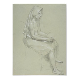 Study for Seated Female Figure by Bouguereau Art Photo