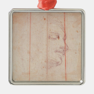 Study for the Head of the Libyan Sibyl Silver-Colored Square Ornament