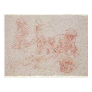 Study of a reclining man postcard