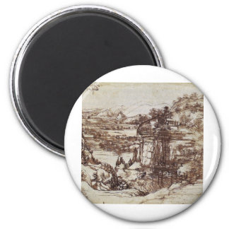 Study of a Tuscan landscape. 2 Inch Round Magnet