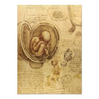 "Study of baby fetus by Leonardo da Vinci 4.5"" X 6.25"" Invitation Card"