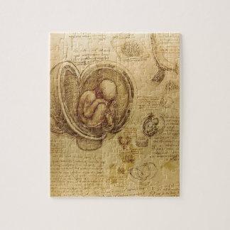 Study of baby fetus by Leonardo da Vinci Jigsaw Puzzle