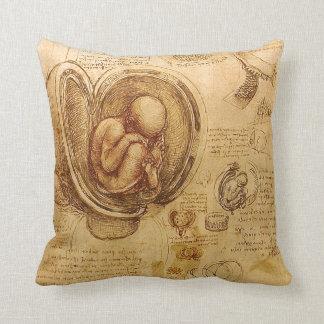 Study of baby fetus by Leonardo da Vinci Pillow