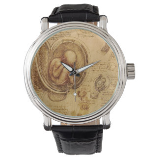 Study of baby fetus by Leonardo da Vinci Wrist Watches
