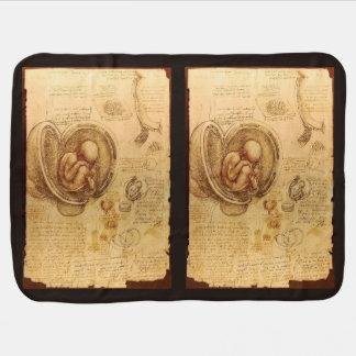 Study of baby fetus by Leonardo da Vinci Stroller Blankets