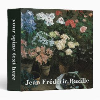 Study of Flowers by Bazille, Vintage Floral Art Vinyl Binder