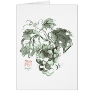 Study of grapes, Sumi-e ink painting Card