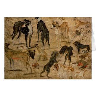 Study of Hounds, 1616 Card