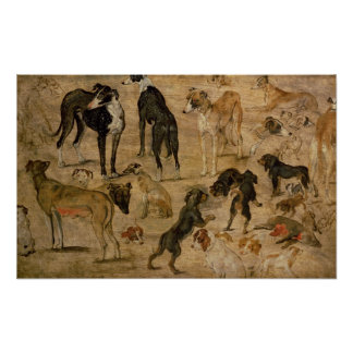 Study of Hounds, 1616 Poster