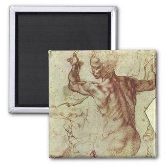 Study of Libyan Sibyl by Michelangelo Square Magnet