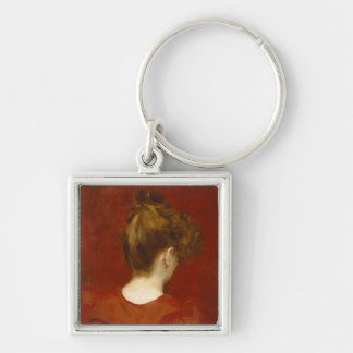Study of Lilia, 1887 (oil on canvas) Silver-Colored Square Keychain