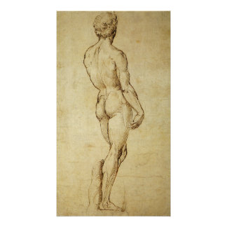 Study of Michelangelo's David Statue by Raphael Poster