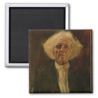 Study of the Head of a Blind Man (oil on canvas) Square Magnet