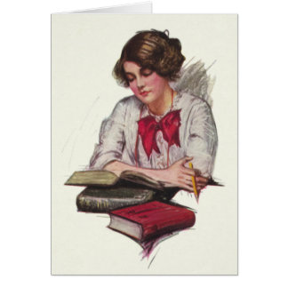 Study Time Girl With Books Card