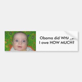 stuff 014 - Copy, Obama did WHAT?I owe HOW MUCH? Bumper Sticker