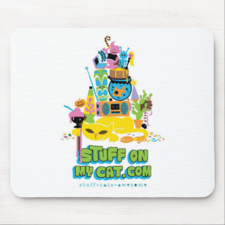 Stuff on my Cat - cartoon stack Mouse Pad
