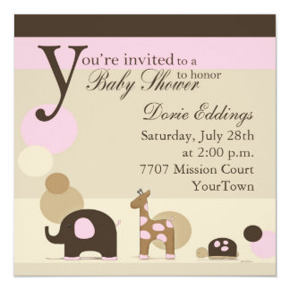 Stuffed Animal Baby Shower in Pink Card