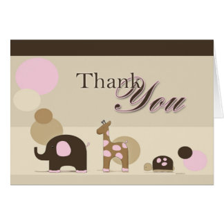 Stuffed Animal in Pink Thank You Card