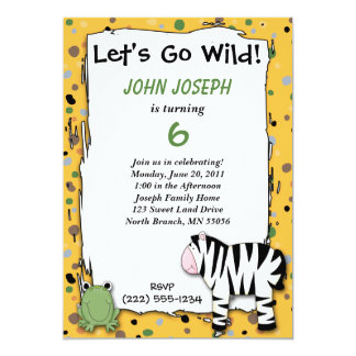 "Stuffed Animals Go Wild Zebra Birthday Party Invit 5"" X 7"" Invitation Card"