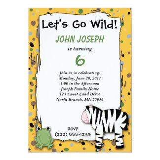 Stuffed Animals Go Wild Zebra Birthday Party Invit 5x7 Paper Invitation Card