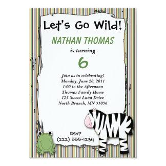 """Stuffed Animals Go Wild Zebra Birthday Party Strip 5"""" X 7"""" Invitation Card"""