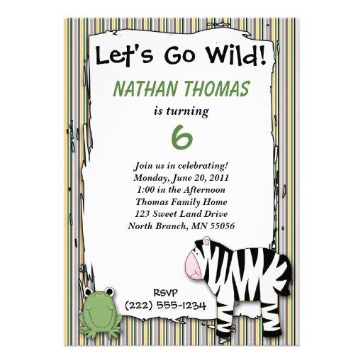 Stuffed Animals Go Wild Zebra Birthday Party Strip Announcements