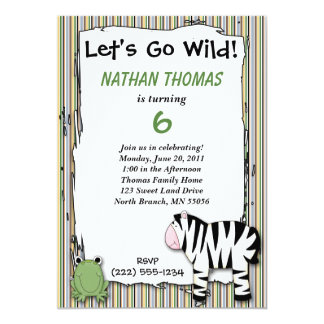 Stuffed Animals Go Wild Zebra Birthday Party Strip 5x7 Paper Invitation Card