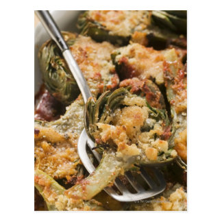 Stuffed artichokes with gratin topping postcard