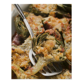 Stuffed artichokes with gratin topping posters