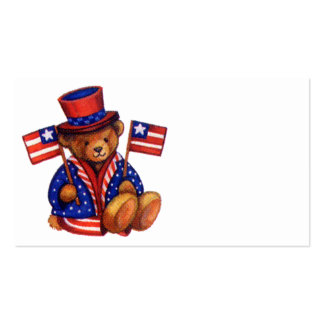 Stuffed Bear With A top Hat And 2 Flags Red White Business Card