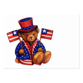 Stuffed Bear With A top Hat And 2 Flags Red White Large Business Card