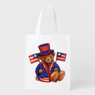 Stuffed Bear With A top Hat And 2 Flags Red White Reusable Grocery Bag