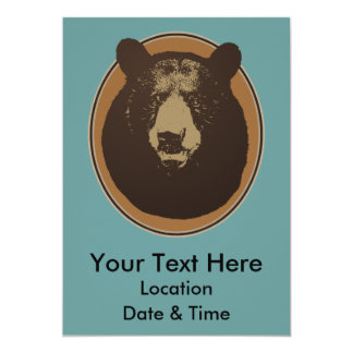 "Stuffed Brown Bear Head on the Wall 5"" X 7"" Invitation Card"